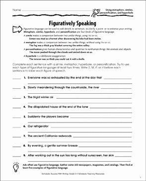 Simile and Metaphor Worksheet Best Of Figuratively Speaking Using Metaphors Similes