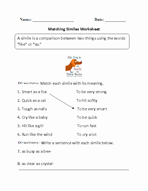 Simile and Metaphor Worksheet Elegant Englishlinx