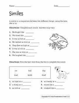 Simile and Metaphor Worksheet Elegant Similes Worksheets Teachers Pay Teachers