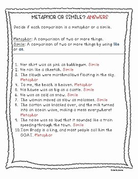 Simile and Metaphor Worksheet Fresh Simile and Metaphor Worksheet by Teacher Of Muggles