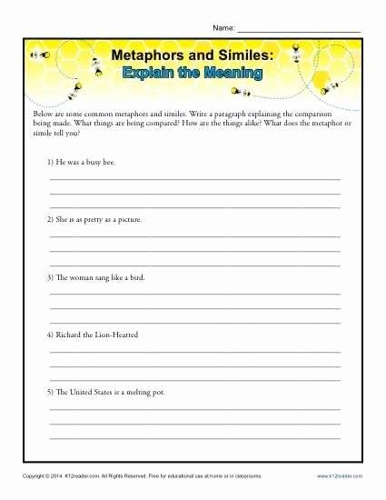 Simile and Metaphor Worksheet Inspirational Metaphors and Similes Explain the Meaning