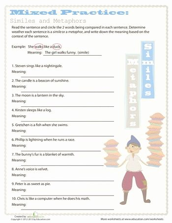 Simile and Metaphor Worksheet Inspirational Simile and Metaphor