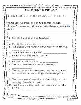 Simile and Metaphor Worksheet Lovely Simile and Metaphor Worksheet by Teacher Of Muggles