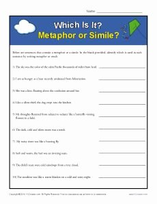 Simile and Metaphor Worksheet Luxury Simile and Metaphor Worksheet Identifying Similes and
