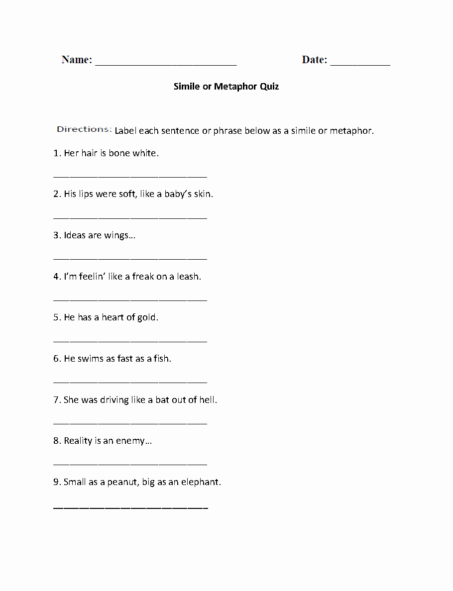 Simile and Metaphor Worksheet New Similes Worksheets