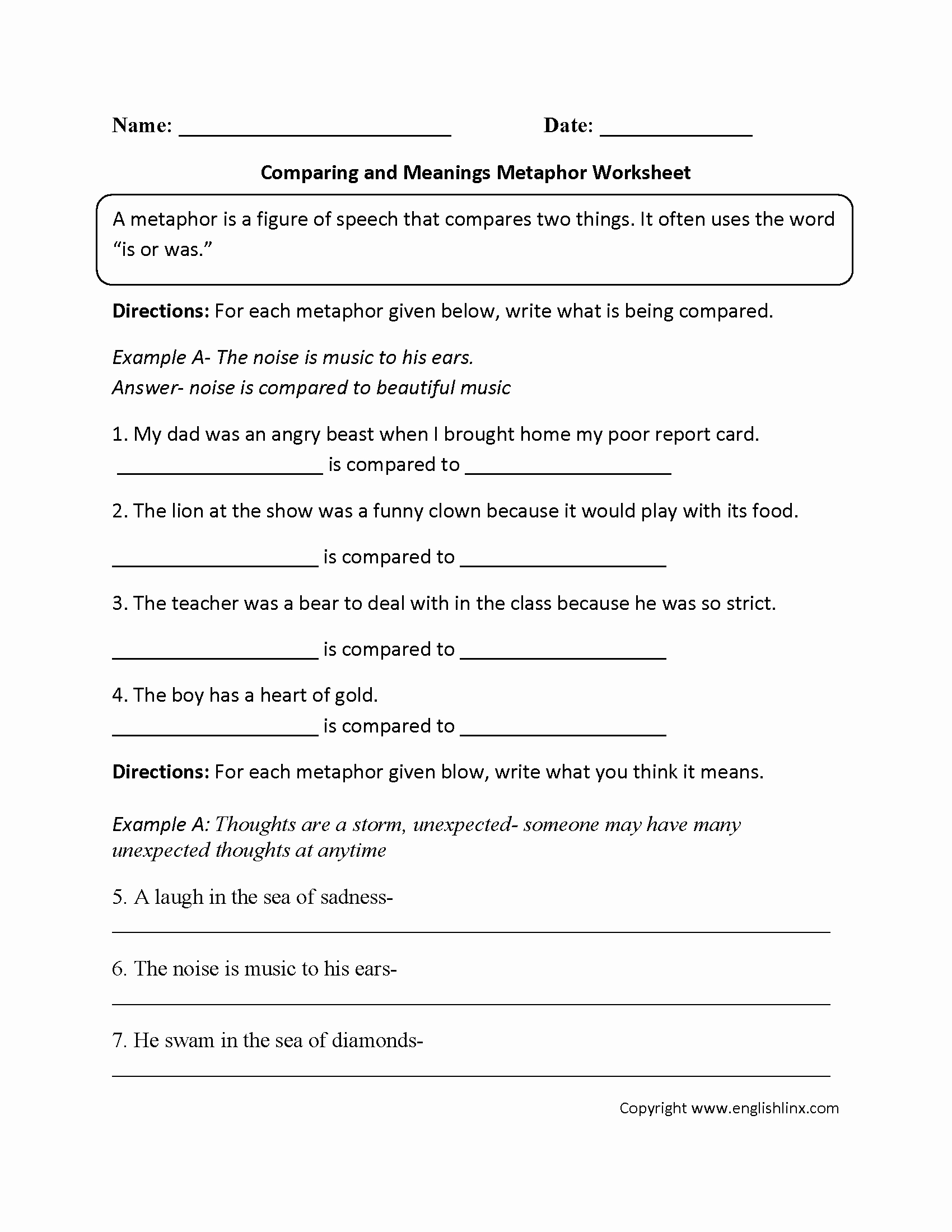 Simile and Metaphor Worksheet Unique Englishlinx