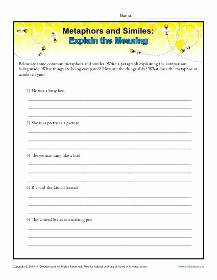 Simile and Metaphor Worksheet Unique Metaphors and Similes Explain the Meaning