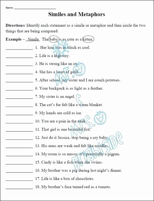 Simile and Metaphor Worksheet Unique This is An 18 Question Worksheet that Focuses On Similes