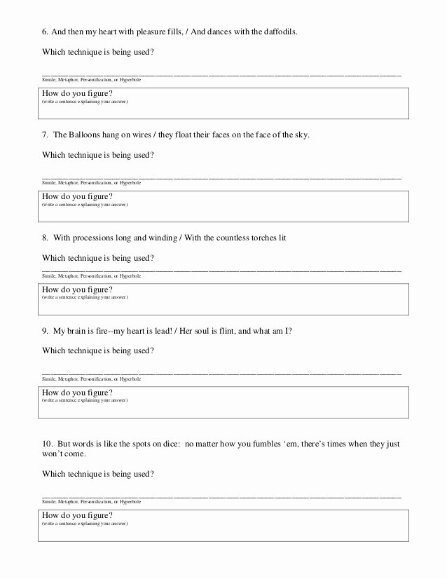 Simile Metaphor Personification Worksheet Awesome 6th Grade Math Worksheets Pdf Best Games Resource
