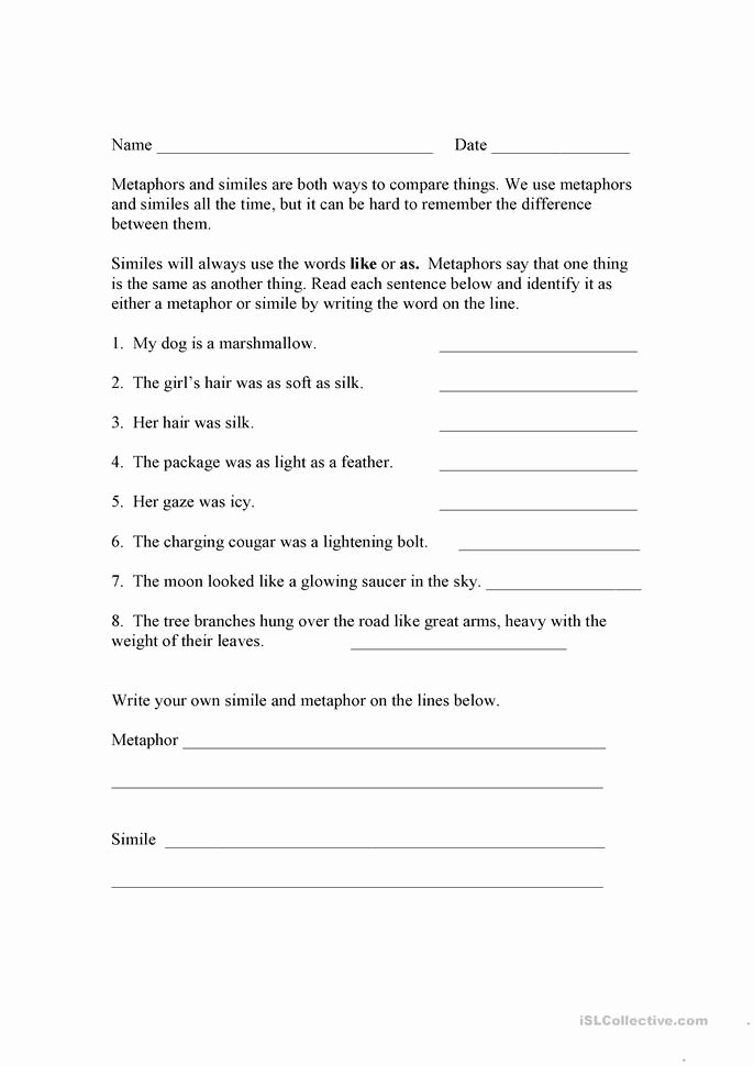 Simile Metaphor Personification Worksheet Best Of Alternative Medicine Conversation Class Worksheet Free