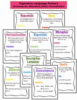 Simile Metaphor Personification Worksheet Best Of Figurative Language Posters by the Learning Lab by