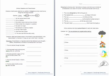 Simile Metaphor Personification Worksheet Best Of Figure Of Speech Simile Personification Metaphor