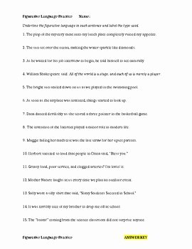 Simile Metaphor Personification Worksheet Elegant Figurative Language Worksheet Simile Metaphor