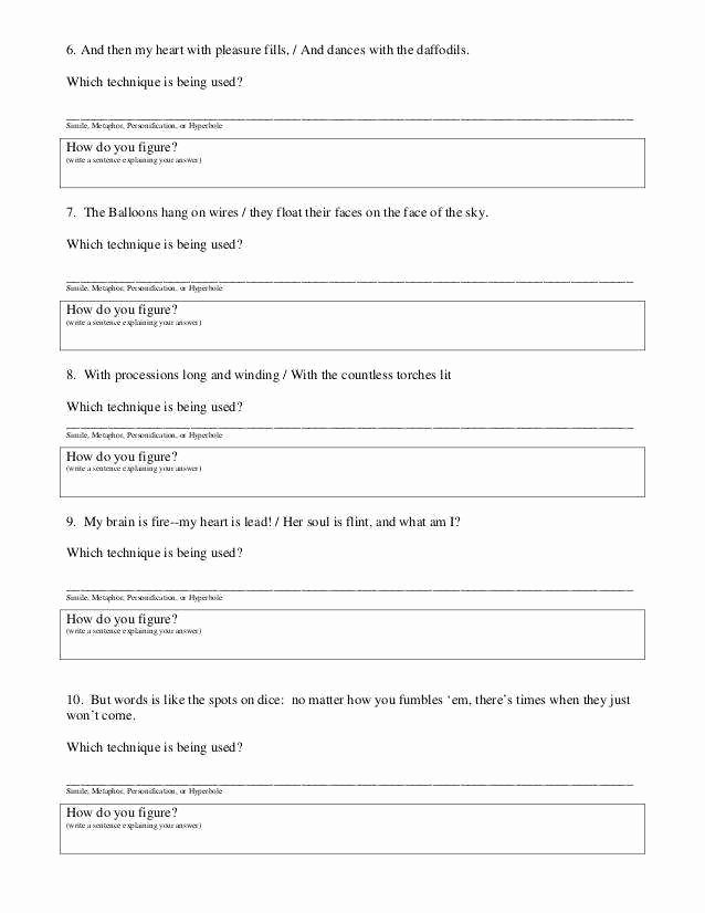Simile Metaphor Personification Worksheet Fresh Personification Worksheet