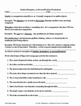 Simile Metaphor Personification Worksheet Fresh Simile Metaphor or Personification Worksheet by the