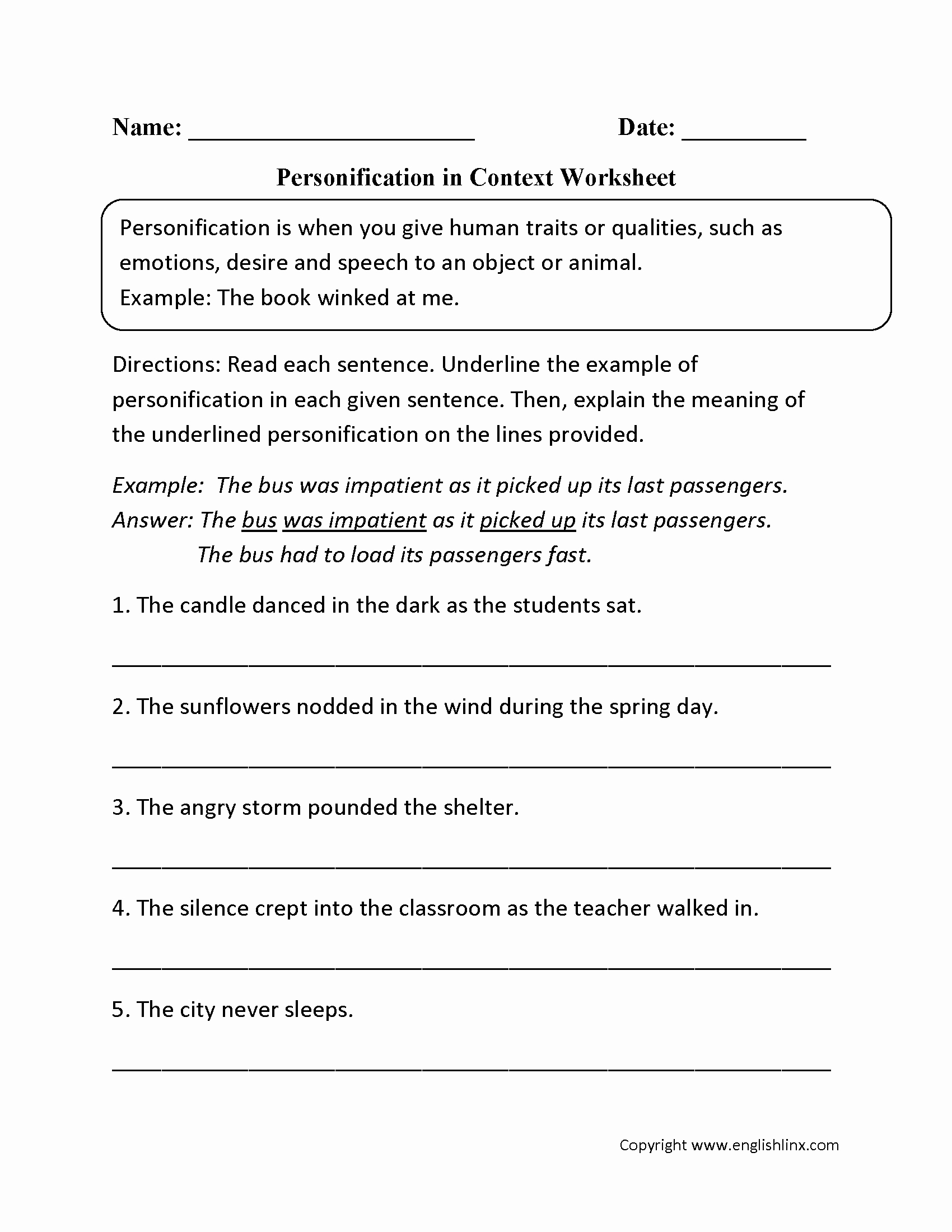 Simile Metaphor Personification Worksheet Inspirational 8 Best Of Simile Metaphor Personification Worksheet
