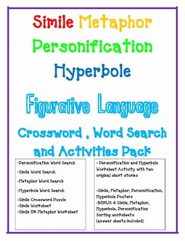 Simile Metaphor Personification Worksheet Lovely Figurative Language Simile Metaphor Personification