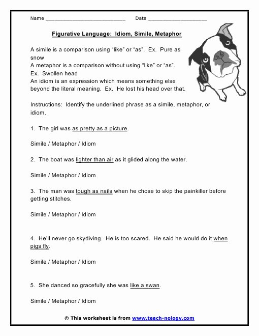 Simile Metaphor Personification Worksheet Lovely Simile and Metaphor Worksheet