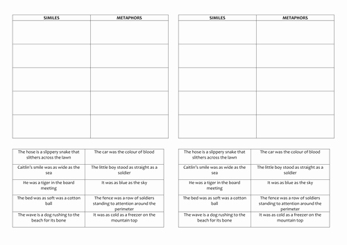 Simile Metaphor Personification Worksheet Luxury Similes and Metaphors Worksheet by Rootsandwings