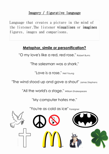 Simile Metaphor Personification Worksheet New Metaphor Simile and Personification by Martuska