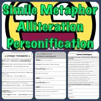 Simile Metaphor Personification Worksheet New Simile Metaphor Personification Alliteration Packet