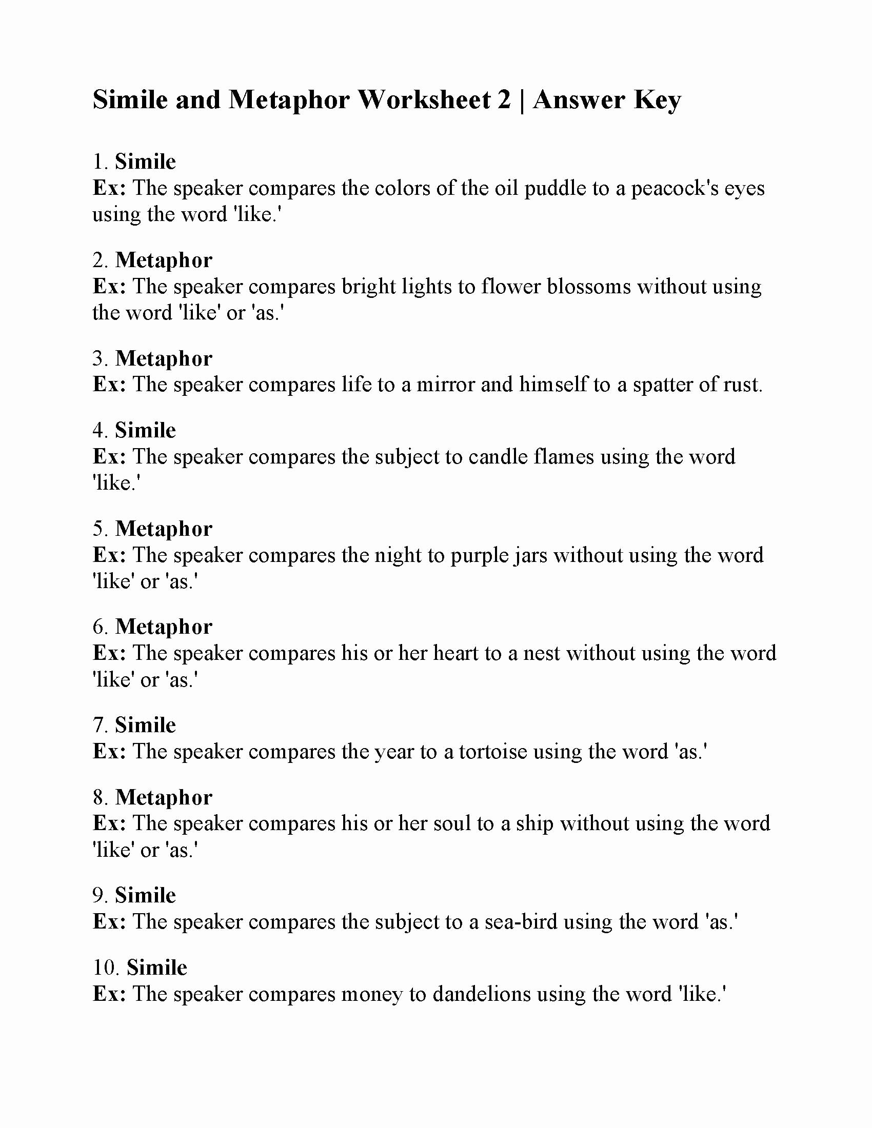 Similes and Metaphors Worksheet Awesome Simile and Metaphor Worksheet 2