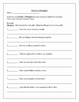 Similes and Metaphors Worksheet Beautiful Simile Metaphor Worksheet by Bob Marzola