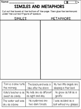 Similes and Metaphors Worksheet Best Of Similes and Metaphors Worksheets and Workbook