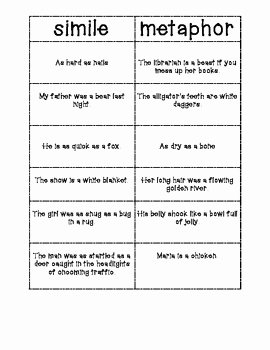 Similes and Metaphors Worksheet Elegant Simile Metaphor sort by whooo Knew