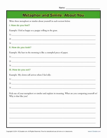 Similes and Metaphors Worksheet Fresh Metaphor and Simile About You