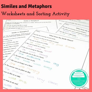 Similes and Metaphors Worksheet Fresh Similes and Metaphors Worksheets by the Productive Teacher