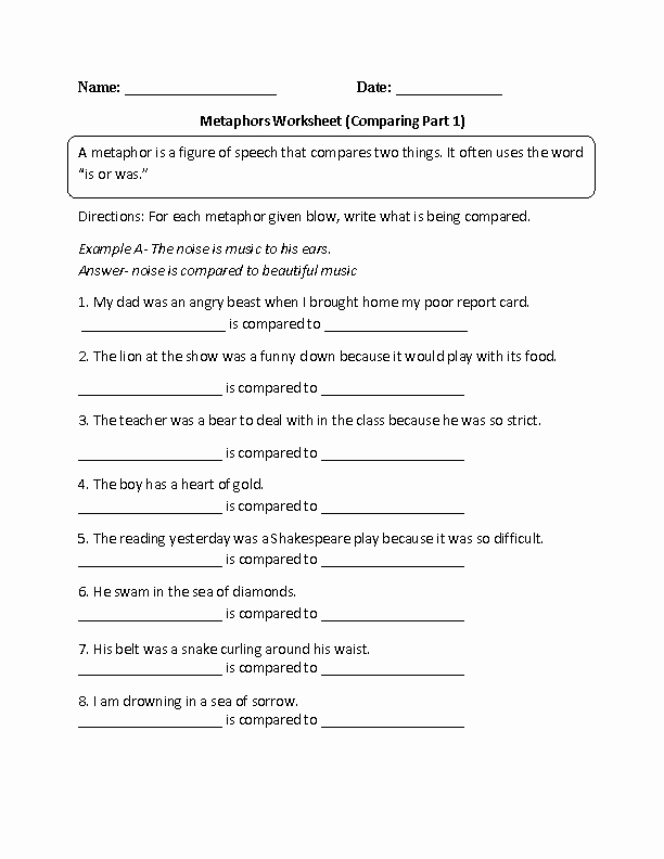Similes and Metaphors Worksheet Luxury Englishlinx Metaphors Worksheets