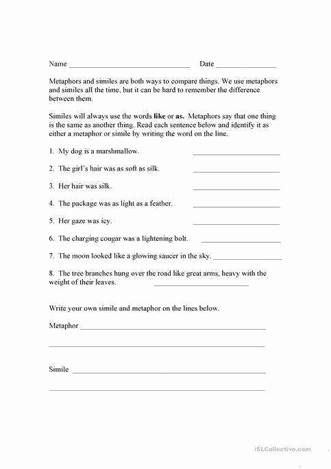 Similes and Metaphors Worksheet Luxury Simile and Metaphor Worksheet