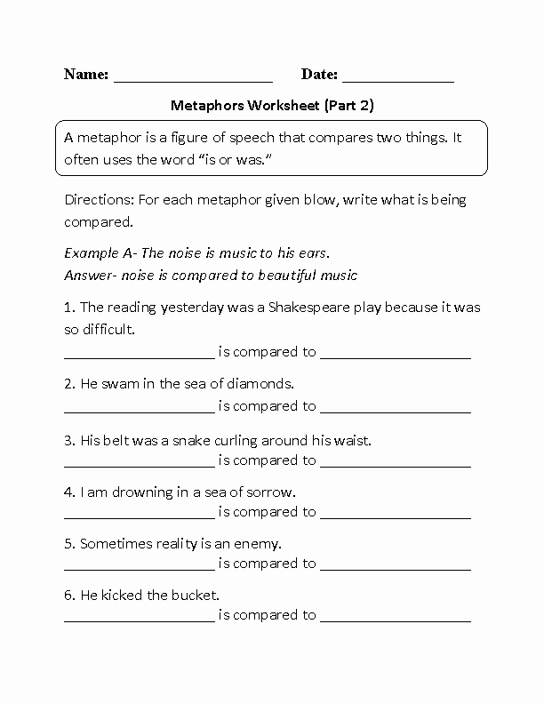 Similes and Metaphors Worksheet New 8 Best Of Simile Metaphor Personification Worksheet