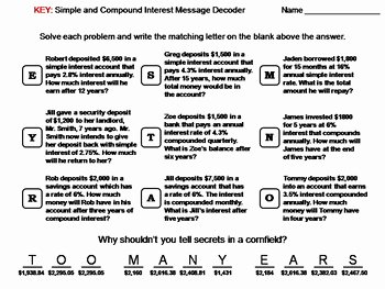 Simple and Compound Interest Worksheet Awesome Simple and Pound Interest Worksheet Math Message
