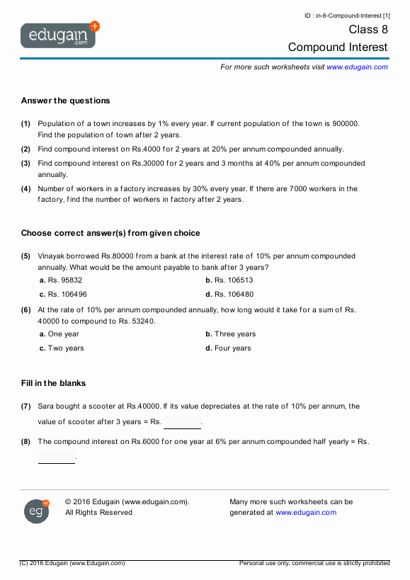Simple and Compound Interest Worksheet Fresh Grade 8 Math Worksheets and Problems Pound Interest