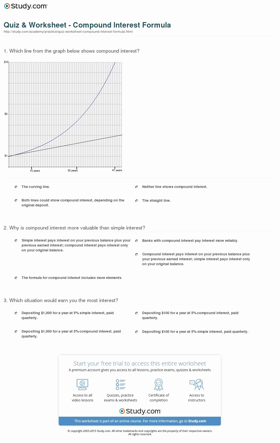 Simple and Compound Interest Worksheet Inspirational Quiz & Worksheet Pound Interest formula