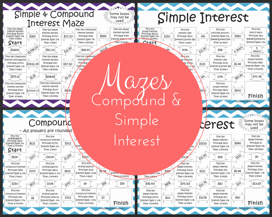 Simple and Compound Interest Worksheet Inspirational Simple & Pound Interest Mazes My 8th Grade Math
