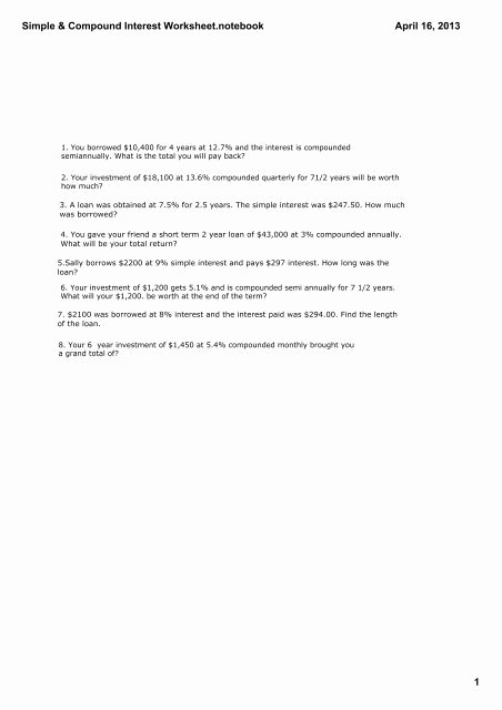 Simple and Compound Interest Worksheet Inspirational Simple & Pound Interest Worksheettebook Grade 10 Math
