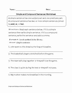 Simple and Compound Sentence Worksheet Fresh Pound Sentences Worksheets