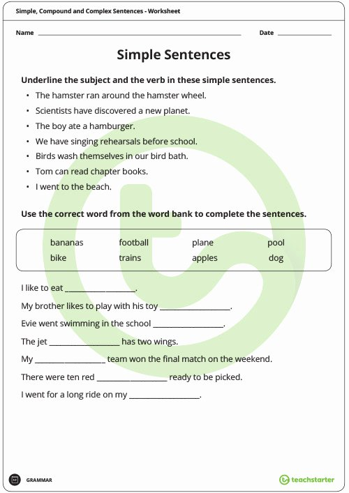Simple and Compound Sentence Worksheet Inspirational Simple Pound and Plex Sentences Worksheet Pack