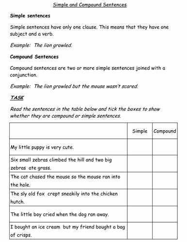 Simple and Compound Sentence Worksheet Luxury Simple and Pound Sentences Worksheet by Jessplex
