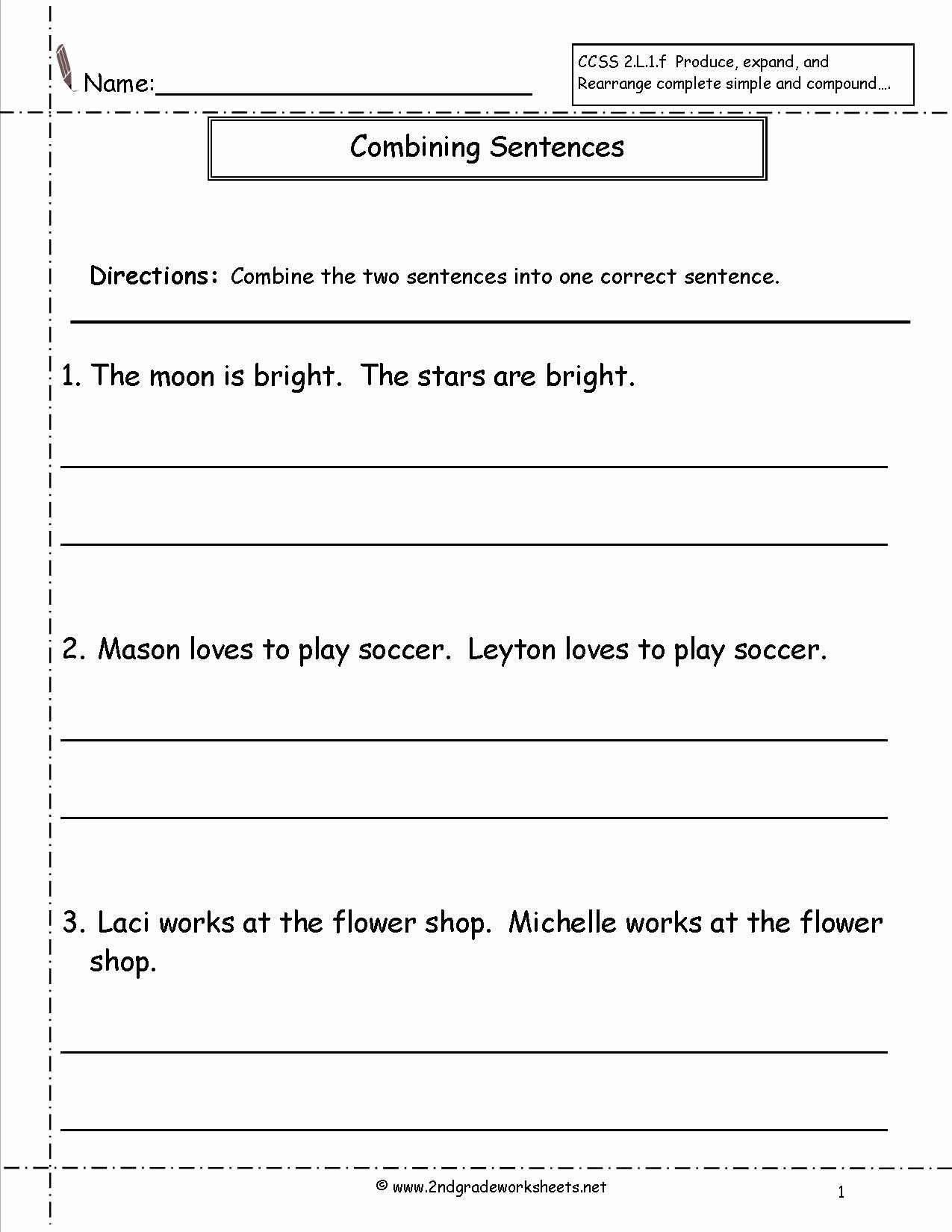 Simple and Compound Sentence Worksheet Unique Bining Sentences Worksheet Language Arts