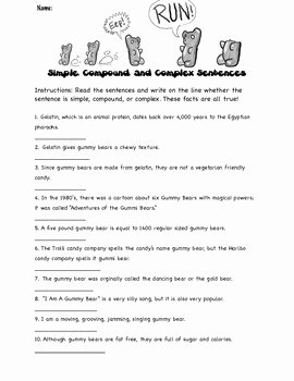 Simple and Compound Sentences Worksheet Awesome Identifying Simple Pound and Plex Sentences with