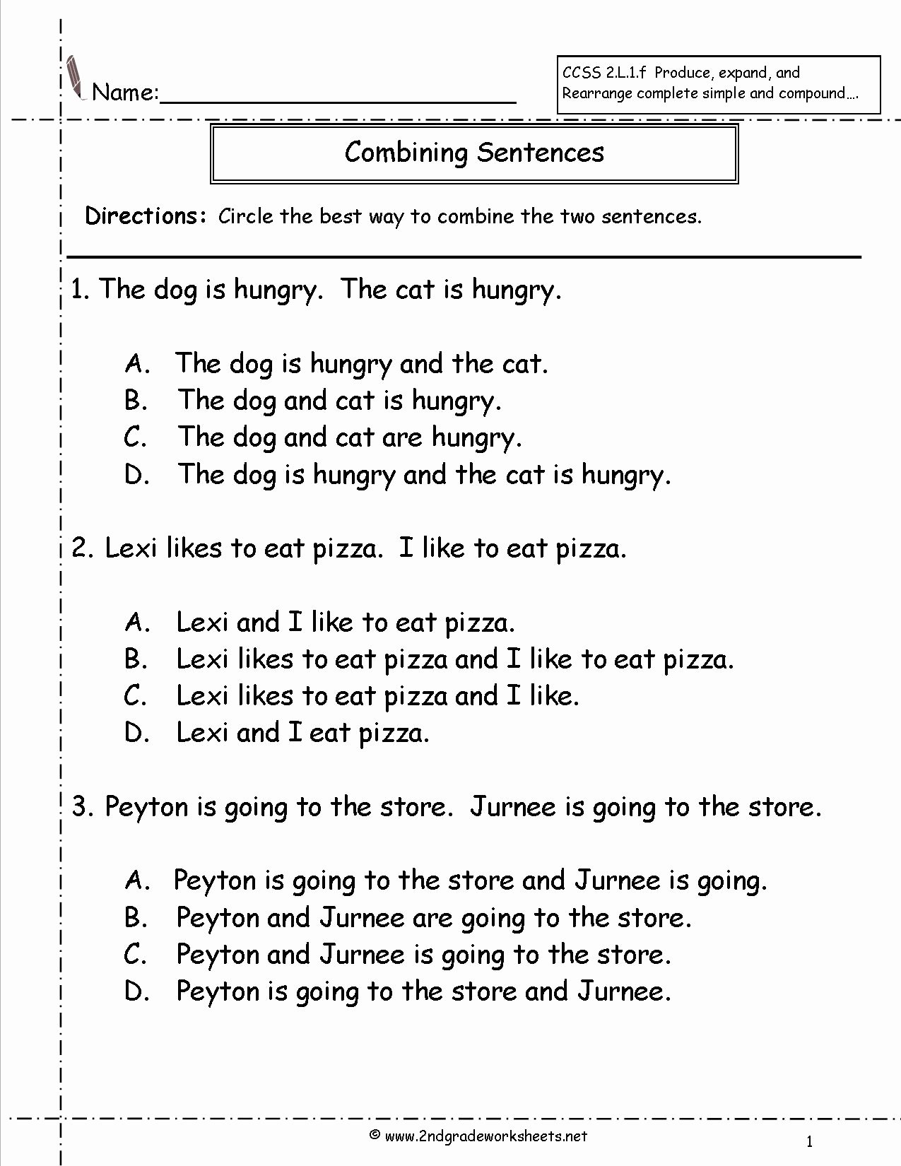 Simple and Compound Sentences Worksheet Beautiful Second Grade Sentences Worksheets Ccss 2 L 1 F Worksheets