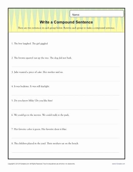 Simple and Compound Sentences Worksheet Best Of Write A Pund Sentence