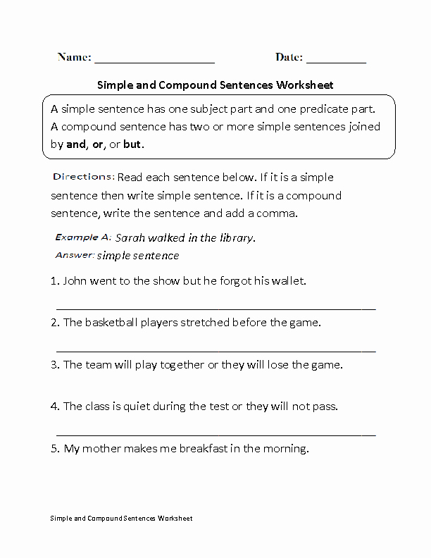 Simple and Compound Sentences Worksheet Inspirational Simple and Pound Sentences Worksheet