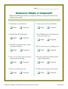 Simple and Compound Sentences Worksheet Inspirational Simple or Pound Sentence Worksheets