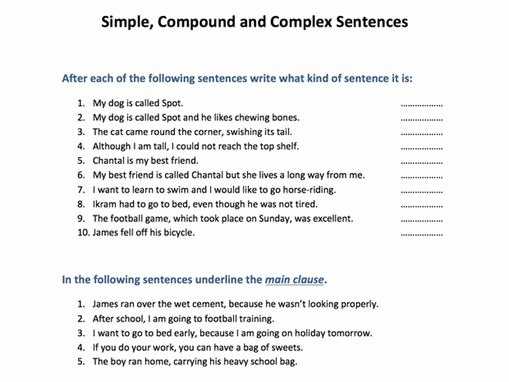 Simple and Compound Sentences Worksheet Luxury Simple Pound and Plex Sentences by Skillsmastery