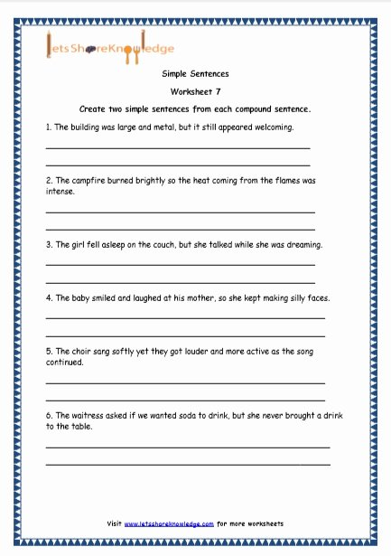 Simple and Compound Sentences Worksheet New Grade 4 English Resources Printable Worksheets topic